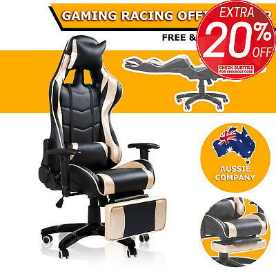 180 Degree Reclining Ergonomic High Back Gaming Racing Office Chair Seat Gold