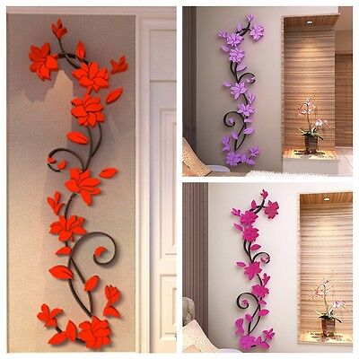 1Pc Removable 3D Acrylic Flower Vinyl DIY Wall Sticker Decal Mural Decor 5Colors