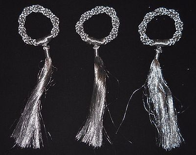 """Woven Tree Ornament Christmas Wreaths Silver Color 8"""" Lot of 3"""