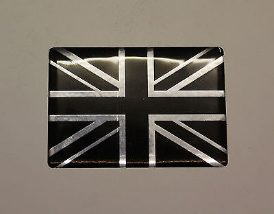 30mm UNION JACK FLAG Sticker/Decal  CHROME & BLACK - HIGH GLOSS DOMED GEL FINISH