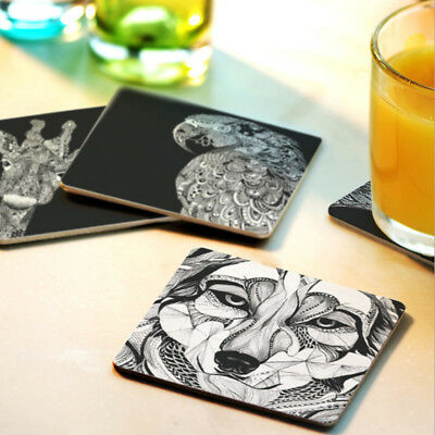Tableware Placemat Wooden Square Coaster Record Cup Drink Holder Mat