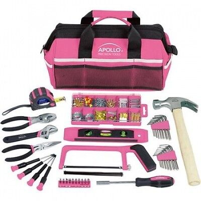 Apollo Tools 201-Piece Household Tool Kit in Tool Bag, Pink. Shipping is Free