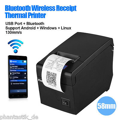 Portable Bluetooth 58mm Thermal Dot Receipt Printer For Android IOS Windows UK