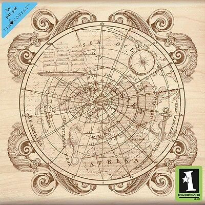 Inkadinkado Mounted Rubber Stamp 11cm x 11cm -Old World Map. Shipping Included