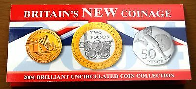 UK 2004 Britain's New Coinage 3 x B/Unc Commemorative Coins In Royal Mint Pack #