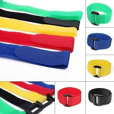Reusable Coloured Hook Loop Strap Straps Cable Ties Packs Of 10 Organise Vel