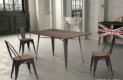 """New Large 59"""" Vintage Industrial Era Style Metal & Bamboo Wood Dining Table"""