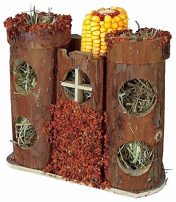 Pure Nature 2 Storey Wooden Castle with Hay & Snacks for Mice Hamster Gerbil