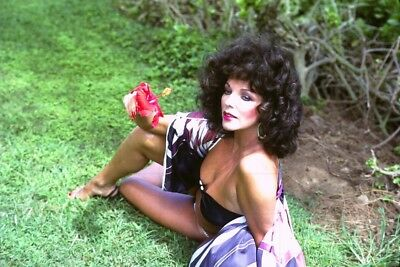 """JOAN COLLINS - 12"""" x 8"""" Colour Photograph On Holiday In Barbados 1970's  #2664"""