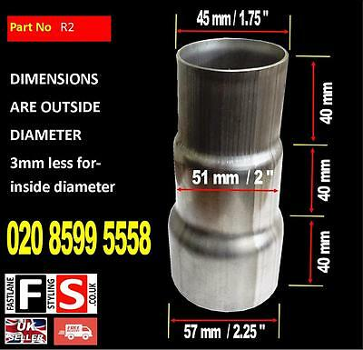 """3 Part Stainless Steel Exhaust Pipe Reducer Sleeve Universal 1.75"""" to 2.25"""""""