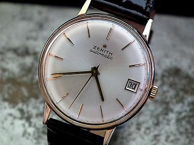 Beautiful Full Size Solid 18ct Rose Gold 1960's Zenith Automatic Vintage Watch