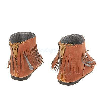 Brown Fringe Tassel Ankle Boots Shoes for American Girl Kirsten Doll Clothes