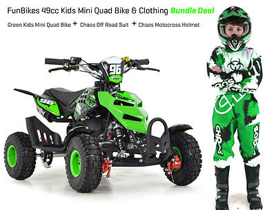 FunBikes Kids Mini Quad Bike 49cc 50cc Petrol Quad Clothing Helmet Bundle Green