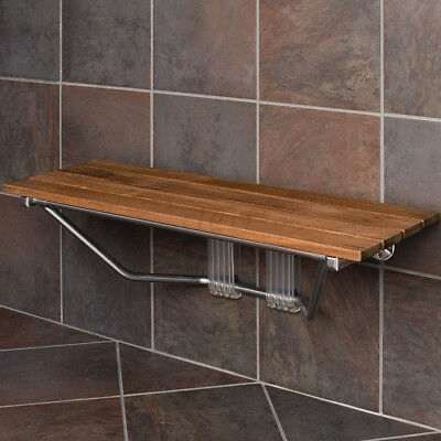 "Clevr 36"" Double Seat Folding Wall Shower Bench Teak Wood Modern Finished Chrome"