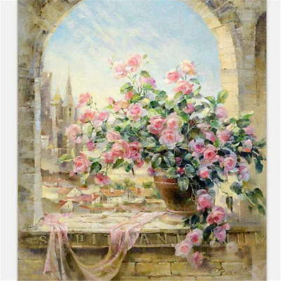 """20""""*16"""" DIY Paint By Number Kit Digital Oil Painting Canvas Flowers Window Sky A"""