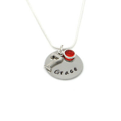 Personalised 7th Birthday Birthstone Necklace Free Delivery Gift Boxed