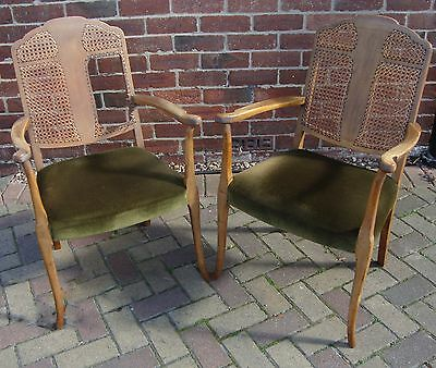 Pair of Beech? French Style Antique Cane Panel Back Chairs Velor Seat