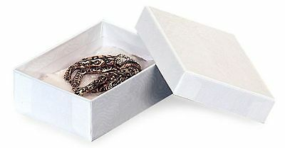"""Jewelry Boxes 100 #32 White Cotton Filled Retail Earrings Pin Gift 3  x 2 """" x 1"""""""