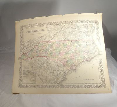 Antique Hand Colored Lithograph Colton's Atlas Map North Carolina South