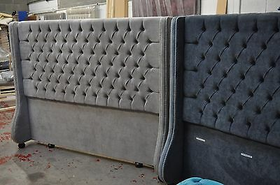 💖 Headboard Deep Buttoned Chesterfield Style With Wings