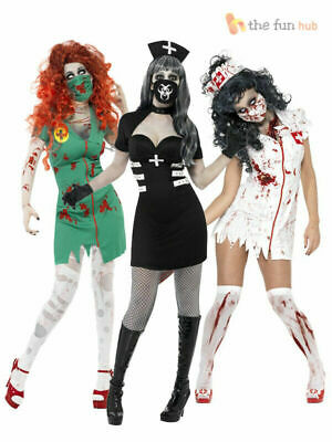 Ladies Zombie Nurse Costume Adult Womens Halloween Party Fancy Dress  Outfit