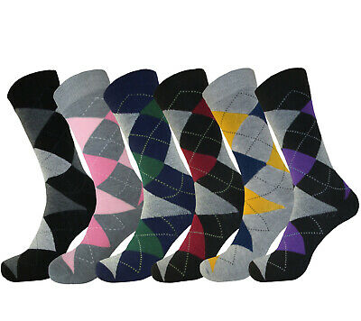 6 Pk Diamond Argyle Fashion Socks Size 10-13 Cotton Dress Socks Multi Color