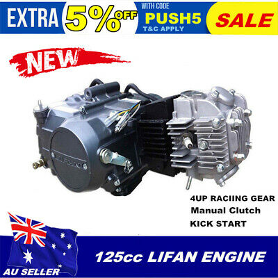 New LIFAN Manual Clutch 125CC Motorbike Engine 1P54FMI 4Up Gears Dirt Bike Motor
