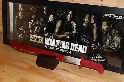 Rick Grimes Red Machete Prop/Replica with stand~The Walking Dead~Blood Drenched