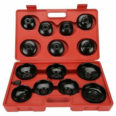 14Pcs Aluminium Oil Filter Cup Type Wrench Removal Socket Remover TOOL KIT