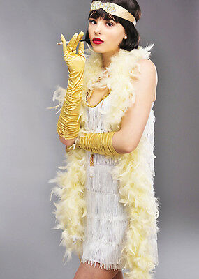 1920s Flapper Girl Ivory Cream Feather Boa