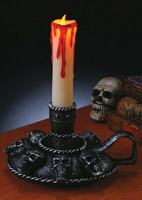Gothic Light Up Candle with Skull Holder