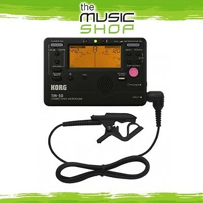 Korg TM-50 Orchestral & Band Combo Tuner/Metronome w Contact Mic - Black - TM50C