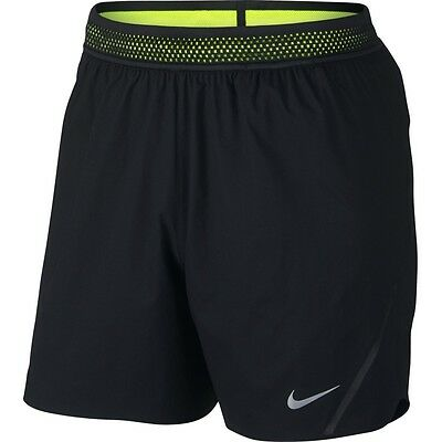 "Nike 5"" Aeroswift Men's Dri-Fit Running Shorts [Size Xl] Black/volt 717881-010"