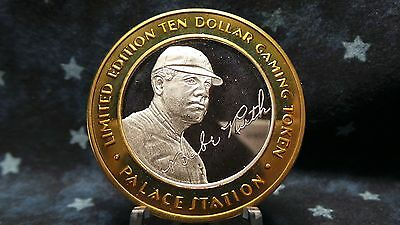 Palace Station Babe Ruth $10 Gaming Token .999 Fine Silver Strike BC 750