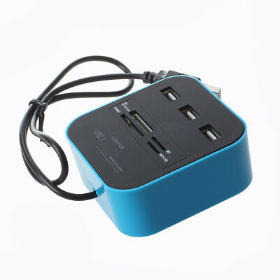 All In 1 Combo Hub USB 2.0 3 Ports Card Reader for SD MMC M2 MS Pro Duo Blue LW