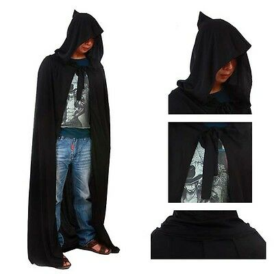 Halloween Adult Kid Medieval Wizard Witch Hooded Cape Robe Cloak Fancy Dress NEW