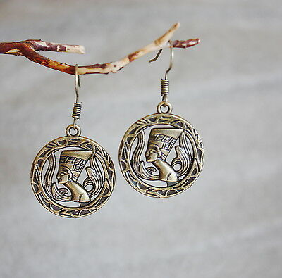 Egyptian Pharaoh Cleopatra earrings dangling goddess of ancient times