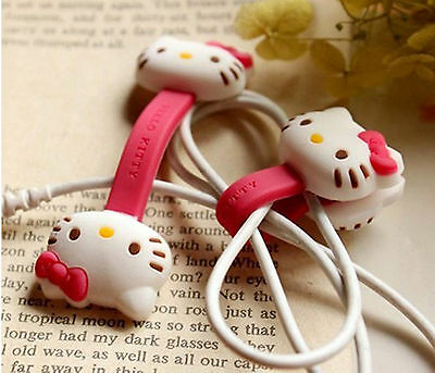 2pcs HelloKitty Earphone cord winders Cable Tidy Wrap Wires Organizer Holders G6