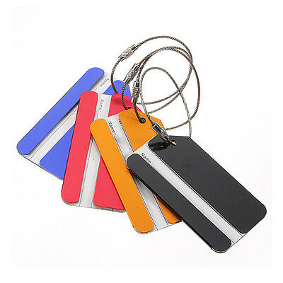 4pcs Aluminium Metal Travel Luggage Baggage Suitcase Address Tags Label Holder