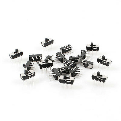 20 Pcs On/Off/On DPDT 2P2T 6 Pin Vertical DIP Slide Switch 9x4x3.5mm LW