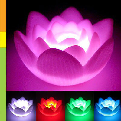 Color Changing LED Lotus Flower Love Mood Lamp Night Light Favor Decoration LW