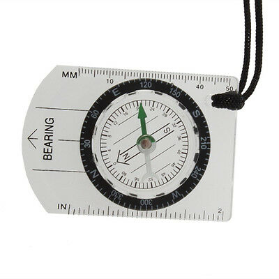 Mini All in 1 Outdoor Hiking Camping Baseplate Compass Map Measure Ruler LW