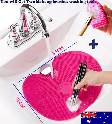 Silicone Makeup Cosmetic Brush Cleaner Washing Scrubber Board Mat Pad + Glove nm