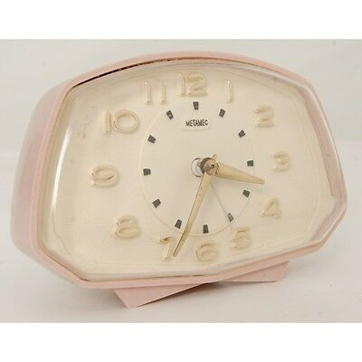 Vintage Metamec Pink Electric Bed Side Clock UNTESTED