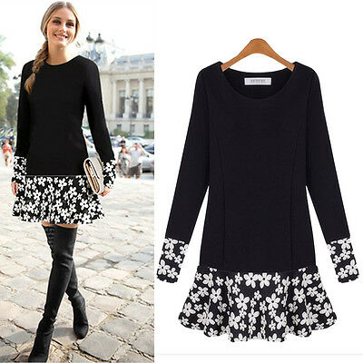 Fashion Women's Long Sleeve Casual Party Evening Floral Loose Mini Shirt Dress