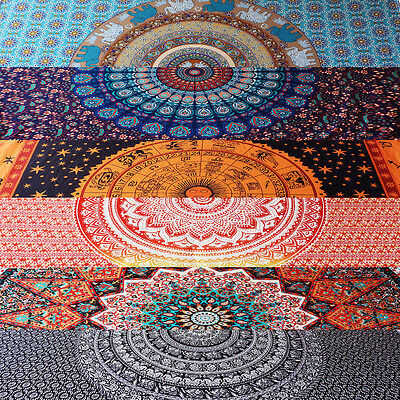 Indian Ethnic Tapestry Wall Hanging Psychedelic Mandala Zadiac Bedspread Cover