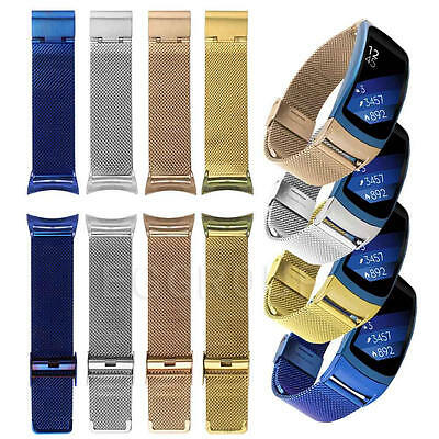For Samsung Gear Fit2/S2 Silicone Leather Steel Replacement Wristband Band Strap