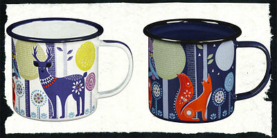 Folklore Night & Day Enamel Tea or Coffee Mugs White & Blue Camping Glamping