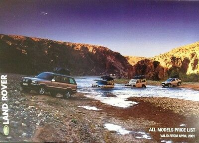 Land Rover / Range Rover Price List & Accessories Brochure 2001 Uk