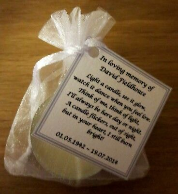 Remembrance Candles, Funeral / Memory, Memorial Candles - Personalised Favours